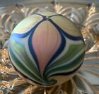 Orient Flume Iridescent Pulled Feather flower Paperweight 1976 label signed