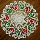 TAMS RED GREEN CHRISTMAS HEARTS DOILY HAND CROCHETED NOEL HOLIDAY LOVE