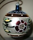Poland Glass Ball Christmas Ornament Red Flowers Blue Top  Glitter Gorgeous