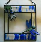 Handcrafted 3 D Stained Glass Blue  White Fuchsia with Dragonfly New