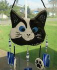 Handcrafted Fused Glass Black  White Cat Windchime New
