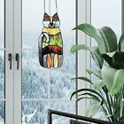 Whimsical Cute Kitty Cat Stained Glass Window Panel Suncatcher w Hanging Chain