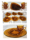 Vintage Indiana Glass KINGS CROWN Thumbprint Amber 12 Piece Snack Plates  Cups