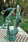 VTG Hand Blown Art Glass Dolphins Playing with Ring Sculpture 11 Tall Figurine
