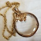 Vintage Gold Floral Magnifying Glass Pendant Necklace