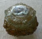Antique Gibson Girl Goofus Glass Victorian Ladies Dresser Box Powder Trinket Jar