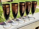 5 CZECH BOHEMIAN Art Glass FLUTED CHAMPAGNE GLASSES AMETHYST PURPLE Gold Overlay