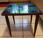 Exc Blue Green Mid Century Georges Briard Mosaic Stained Glass Side Table