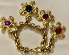 VTG Signed Edouard Rambaud Paris Charm bracelet Heavy Glass Cabochon Estate