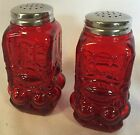 Salt  Pepper Shaker Set Eyewinker Red Glass Mosser USA