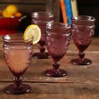Goblet Glass 12 Ounce Footed Set Of 4 Plum Vintage Looking Embossed Design