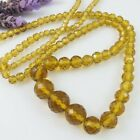 Vintage Long Golden Amber Faceted Glass Graduated Bead NECKLACE 10K Spring ring