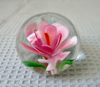 Vintage Art Glass Paperweight Millefiori Pink Flower Sphere 1  Murano Style
