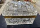Antique Signed Baccarat Cut Crystal Bronze Casket Large Jewelry Box