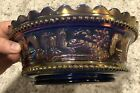 Northwood Blue Iridescent Carnival PEACOCK FOUNTAIN MASTER BERRY BOWL LARGE