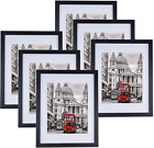 11x14 Picture Frame Set Of 6 Display 8x10 Pictures With Mat Or 11x14 Black New