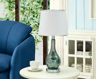 Kings Brand Aqua Green Blue Glass With White Fabric Shade Table Lamps Set of 2