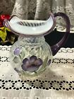 Fenton Purple and White Hand Painted Pitcher 6 3 4