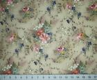 4 Yards Boundless Blue Plume Taupe Floral Blender Cotton Quilt Fabric Craftsy