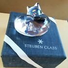 Beautiful Vintage STEUBEN Sleeping Cat Hand Cooler Clear Glass Signed