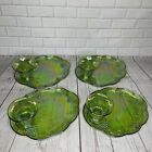 4 Indiana Carnival 2443 Glass Iridescent Harvest Grapes Lime Green Snack Set