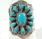 925 STERLING SILVER INTRICATE ETCHED FLOWER BLUE TURQUOISE SIZE 7 RING