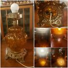 Rare Accurate Casting Co Vintage Antique Quilt Amber Glass 2 Way Lamp No Shade