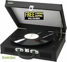 JENSEN JTA 410 Portable 3 Speed Stereo Turntable with Built in Speakers Black