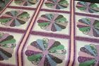 One Quilt Top Cheater Quilt Fabric Calico Dresden Plate Purple 90 w x 109