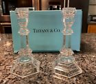 TIFFANY  Co PLYMOUTH Crystal Candesticks Set of 2 Pre owned