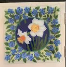 Peggy Karr Fused Glass 10 Square Plate Daffodils Signed