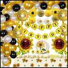 146Pcs Sunflower Birthday Party Decorations Happy Banner Cupcake Toppers Tablecl
