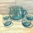 Glass Pitcher Applied Handle Roly Poly Glasses Hand Blown 5 Pc Set Teal Blue Vtg