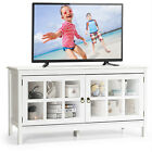 50 TV Stand Modern Wood Storage Console Entertainment Center w 2 Doors White
