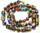 Venetian Millefiori Colorful Glass Tube and Round Beaded Necklace 25 Inches