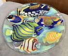 Peggy Karr Fused Art Glass Tropical Fish Plate Signed 11 Collectible