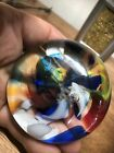 ARCHIMEDE SEGUSO MURANO ART GLASS SOMMERSO BLUE CRANBERRY PAPERWEIGHT LABEL NR