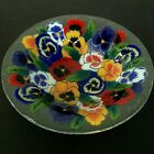 Peggy Karr Fused Art Glass Bowl Serving Centerpiece 11 Pansies Flowers USA