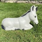Vintage Blow Mold Gray Donkey 21 Nativity Set Yard Lawn Decoration With Cord