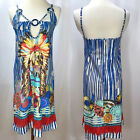 SAVE THE QUEEN Native American Print Cut Out Neckline Dress Cover Up Size M