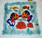 Handcrafted Fused Art Glass Tropical Fish Ocean Sea Trinket Dish Plate Barbados