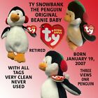 BEANIE BABY SNOW BANK THE PENGUIN BORN JANUARY 19, 2007 RETIRED WITH ALL TAGS