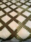 Vintage Quilt Small Square Block Patchwork Steeplechase 67 x 76 HAND STITCHED