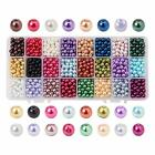 1440pcs 24 Color Round Glass Pearl Beads Environmental Dyed 6mm 24 Colors