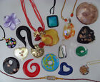 LOT 18 MURANO HAND BLOWN GLASS NECKLACES PENDANTS  CHARMS SOME SIGNED DICHROIC