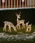 3 Pc Lighted Deer Family Yard Lawn Art Christmas Holiday Outdoor Home Decor