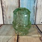 Vintage Indiana Glass Fairy Lamp Candle Holder Green Stars and Bars