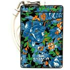 NEW Coach Lanyard ID Card Case Rose Meadow Floral Flowers Holder Blue F57990