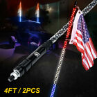 Xprite Pair of Red White Blue 4ft Spiral LED Whip Light Antenna with US Flag