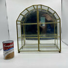 Vtg Franklin Mint Brass Glass Mirror Curio Wall Cabinet Standing Display Case